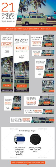Travel & Vacation Web Ad Marketing Banners Template PSD | Buy and Download: http://graphicriver.net/item/travel-vacation-web-ad-marketing-banners/8998083?WT.ac=category_thumb&WT.z_author=vectorcaptain&ref=ksioks