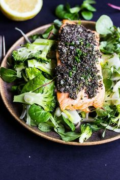 Chia Crusted Salmon With Shaved Fennel and Broccoli Salad.