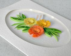 Items similar to Paper quilling card, quilled flowers, handmade on Etsy