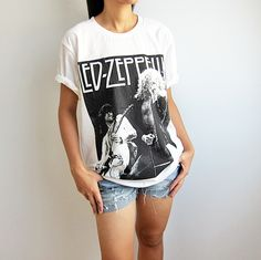 Led Zeppelin Shirt Hard Rock Tshirt Heavy Metal White T Shirts Unisex Size L. $14.99, via Etsy.