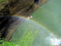 This rainbow forms below the Genessee River Middle Falls in Letchworth State Park, New York State.