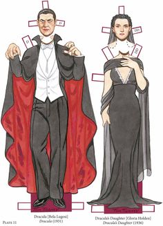 Paper dolls of Bela Lugosi in 'Dracula' and Gloria Holden in 'Dracula's Daughter' from the book, 'Vampire Paper Dolls', by Tom Tierney. Paper Dolls Book, Vintage Paper Dolls, Paper Toys, Paper Puppets, Theme Halloween, Vintage Halloween, Halloween Crafts, Halloween Costumes, Pop Up