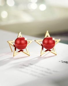 #xmas #Christmas #VIPshop - #NEOGLORY Red Beaded Gold Copper Star Stud Earrings - AdoreWe.com