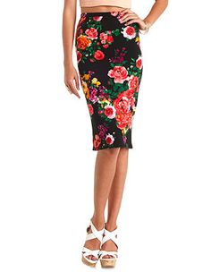 Textured Floral Print Bodycon Midi Skirt: Charlotte Russe