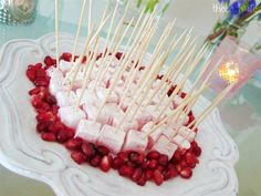 Pomegranate Turkish delight on a stick