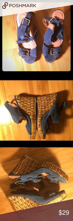 """Jeffrey Campbell """"Help"""" Bamboo Wedges Jeffrey Campbell size 9 teal suede leather upper with chrome tone buckles and suede straps with a faux bamboo platform wedge heel. The style is called """"Help"""" which is printed on the inner side of the top strap on both of  the shoes. They have some signs of wear like minor scuffs and scratches. Pictures on here give a very accurate and complete look at all the wear. Jeffrey Campbell Shoes Espadrilles"""