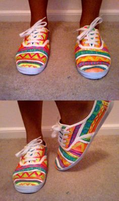 Tribal Print Sneaks: -white canvas shoes -small tubes of neon fabric paint Tribal Leggings, Black Leggings, Tribal Shoes, Neon Shoes, Neon Crafts, Diy Crafts, White Canvas Shoes, White Shoes, White Sneakers
