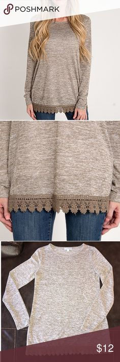 Lace Trim Long Sleeve Shirt Never worn. Adorable lace trim. Great for layering under jackets/vests. Tops
