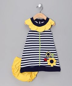 Take a look at this Navy Stripe Ladybug Dress & Bloomers - Infant & Toddler by Samara on #zulily today!