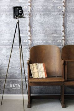 HD vliesbehang metalen platen licht grijs en roest | ESTAhome.nl