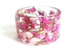 ST - Resin bangel bracelet. Purple floral bracelet. Boronia. Australian Native Flower in resin jewellery. Botanical bracelet. Ocean Petals
