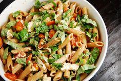 Caprese Pasta Salad Recipe - 8 oz whole wheat pasta 1 lb cherry tomatoes, halved 8 oz fresh mozzarella cubes or slices, roughly chopped 5 garlic cloves, chopped 1 cup fresh basil, roughly chopped 3 tbsp balsamic vinegar 1 tbsp olive oil 1 tbsp oregano