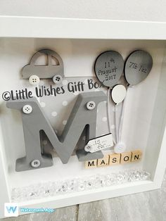 New Baby Boy birth / child initial box frame, perfect for a Nursery or gift to celebrate the birth of a new baby! Add all birth details or just a name. Can be made in any colours & for boys or girls. Please see my other listings for a girl & Twins! Any of our frames can be