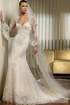 Fantastic Sheath/Column Sweetheart Sleeveless Court Appliques Net Wedding Dresses