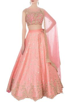 Add class to your ethnic wear collection with this pink raw silk lehenga set. Flaunting a chic embroidered blouse, it comes with a pink embellished organza dupatta that completes its look. Kurti Designs Party Wear, Lehenga Designs, Indian Attire, Indian Outfits, Indian Wear, Indian Bridal Lehenga, Lehenga Wedding, Wedding Sherwani, Pakistani Bridal