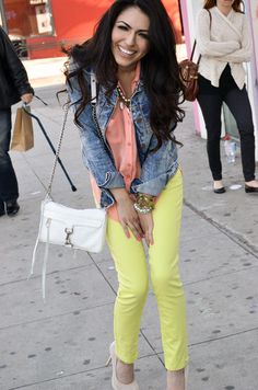 Color Blocking at it's best.  Love the lime pants with the coral top!  #colorblocking #fashion #style