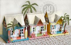 Annette's Creative Journey: My Own Little Key West using Tim Holtz/Sizzix new Village Surf Shack die and Tropical Thinlets. Putz Houses, Bird Houses, Village Houses, Christmas Villages, Christmas Home, 3d Paper Crafts, Paper Art, Paper Toys, Rena