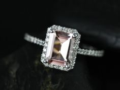 Lisette 14kt White Gold Rectangle Emerald Morganite and Diamond Halo Engagement Ring (Other Center Stone Available Upon Request)