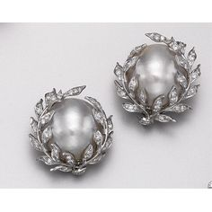 PAIR OF MABÉ PEARL AND DIAMOND EARCLIPS, DAVID WEBB