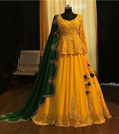 for haldi occasion yellow lehenga choli Party Wear Indian Dresses, Indian Fashion Dresses, Designer Party Wear Dresses, Indian Bridal Outfits, Indian Gowns Dresses, Dress Indian Style, Pakistani Bridal Dresses, Pakistani Dress Design, Indian Designer Outfits