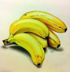 Pencil Colour Painting, Colored Pencil Artwork, Fruit Painting, Art Drawings For Kids, Realistic Drawings, Art Drawings Sketches, Fruits Drawing, Food Drawing, Fruit Illustration