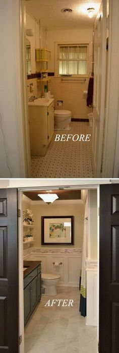 Hallway Bathroom Remodel. I've never seen tile rail over the molding. I like it! #tinybathrooms