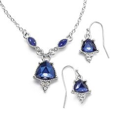 Silvertone necklace and earring gift set with royal blue triangle shaped faux stone pendant and earrings with rhinestone accents. Regularly $19.99, buy Avon Jewelry products online at eseagren.avonrepresentative.com
