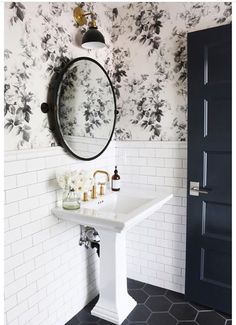 Black tile floor and white subway tile for bathroom remodel in powder room Bad Inspiration, Bathroom Inspiration, Bathroom Ideas, Budget Bathroom, Bathroom Organization, Half Bathroom Remodel, Restroom Ideas, Bath Ideas, Organization Ideas