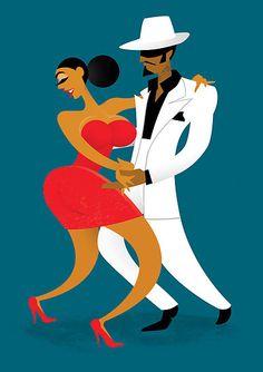 Pete Ellis - Dancers by Drawgood Illustration, via Behance African American Artist, American Artists, New Dp, Dance Logo, Last Tango, Salsa Bachata, Tango Dancers, Dancing Drawings, Cuban Art