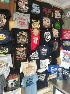 Our showroom wall at Rodtees features many samples of tee shirts we have screenprinted for Hot Rod Shops and Events from Coast to Coast...for custom creenprinting and embroidery its RODTEES!    #HOTROD #TSHIRTS #SCREENPRINTING #LOGO