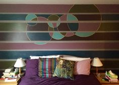 Painted mural using custom-mixed colours