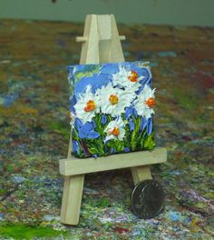 Mini 2x2 inch White Daisies with Mini Easel by OriginalsbyParis