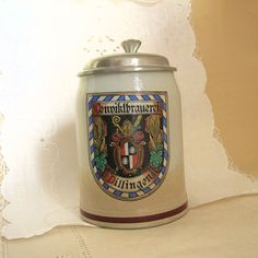 Vintage Collectible Stein German Tankard by HouseholdAntiquities Picture Engraving, Medieval Castle, Stoneware Clay, Handmade Pottery, Coat Of Arms, Pewter, German, Ceramics, Gift Ideas