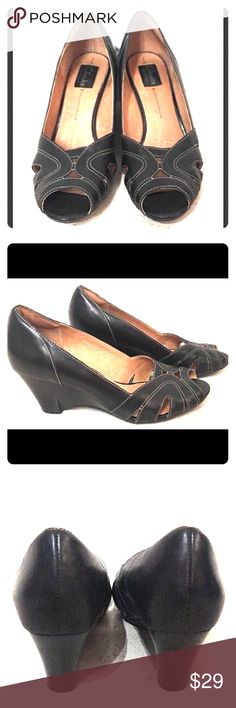"""CLARKS ARTISAN Black Leather WEDGES. 10 M Shoes CLARKS ARTISAN Active Air Black Wedges in Excellent Preowned Condition! Size  10M. Very Clean. Great for work or play. Black Leather Upper w/ Black Platform. 3"""" wedge. #83439 Clarks Shoes Wedges"""