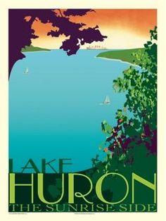 lake huron travel poster | Lake Huron the Sunrise Side Vintage Inspired Travel Poster