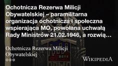 """""""Ochotnicza Rezerwa Milicji Obywatelskiej"""" på @Wikipedia: Workers Union, Communism, Poland, Organization"""