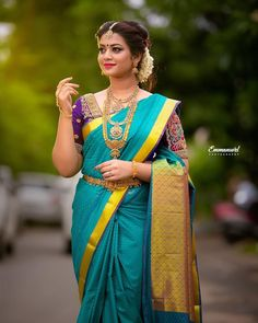 Tired of scrolling through a bunch of pages to find that perfect blouse designs? Check out the top most South Indian blouse designs to pair with a kanjeevaram saree- Eventila Indian Bride Photography Poses, Indian Bride Poses, Indian Wedding Poses, Bridal Photography, South Indian Wedding Saree, Indian Bridal Sarees, Indian Beauty Saree, South Indian Blouse Designs, Bengali Bride