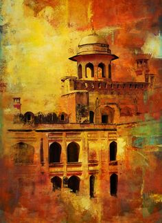 Original Architecture Painting by Corporate Art Task Force Mughal Paintings, Islamic Paintings, Oil Paintings, Pakistan Art, Inspirational Canvas Art, Mughal Architecture, City Painting, Aesthetic Painting, Islamic Art