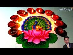 Diwali special peacock and lotus rangoli design. Rangoli Designs Simple Diwali, Rangoli Designs Latest, Rangoli Designs Flower, Free Hand Rangoli Design, Rangoli Border Designs, Rangoli Ideas, Colorful Rangoli Designs, Diwali Designs, Thali Decoration Ideas