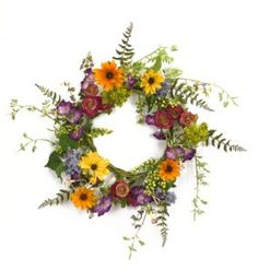 Shop for National Tree Company White/Purple Mixed Flowers Floral Wreath Decor. Get free delivery On EVERYTHING* Overstock - Your Online Home Decor Outlet Store! Get in rewards with Club O! Blooming Flowers, Spring Flowers, Purple Flowers, Silk Flowers, Fake Flowers, Easter Wreaths, Beautiful Wall, Flower Making, Artificial Flowers
