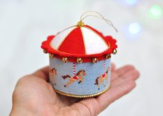 "Living on Raduge: Christmas toy ""Carousel"" / Carousel Cross Stitch Ornament"