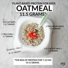 Breakfast inspiration from Plant Based Protein, Plant Based Diet, Baby Led Weaning, Kits For Kids, Protein Sources, Hemp Seeds, Baby Food Recipes, Thinking Of You, Oatmeal