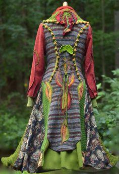 Lappendeken lange TRUI JAS / Boho Woodland stijl Mori meisje