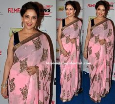 madhuri dixit at filmfare awards nominations bash 2014... Pale pink embellished saree with a navy, velvet sleeveless blouse
