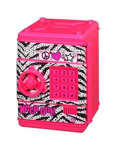 Caja fuerte color rosa y zebra.