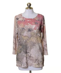 Coldwater Creek Beige Taupe Red Floral Textured 3/4 Sleeve Top Size M #ColdwaterCreek #Blouse #Casual