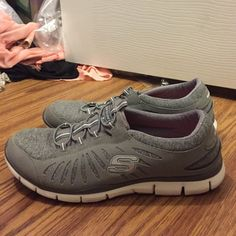 Skechers sneakers! These have only been worn once! They are grey and super comfortable and light! Skechers Shoes
