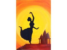 Indian Dance silhouette painting print, Home Decor, Wall Hanging, Dance Art, Indian