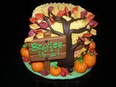 """Fall/Autumn"" Themed Cake for 1st Birthday - by CakeHappy @ CakesDecor.com - cake decorating website"