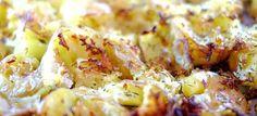 Smashed potatoes met knoflook-champignons en een burger